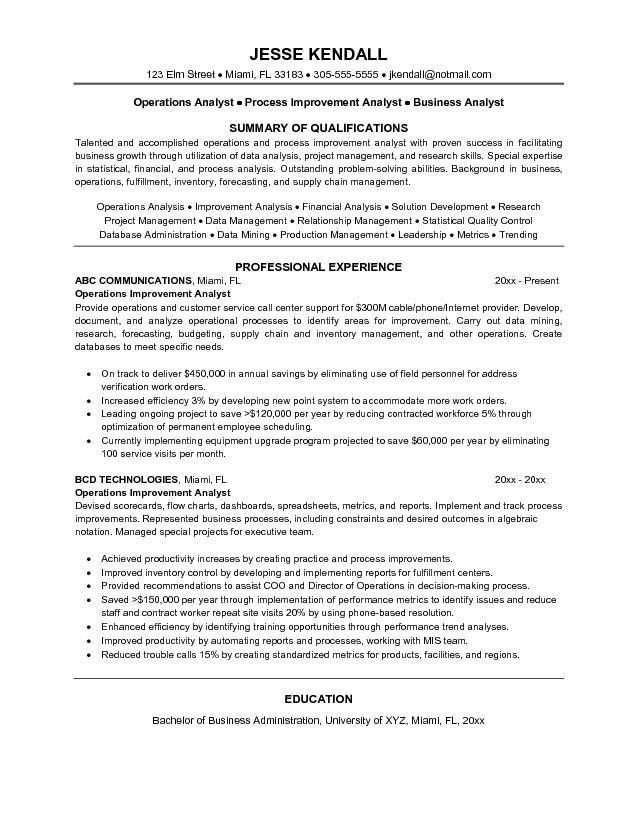 Operations Analyst Resume Free Derivative