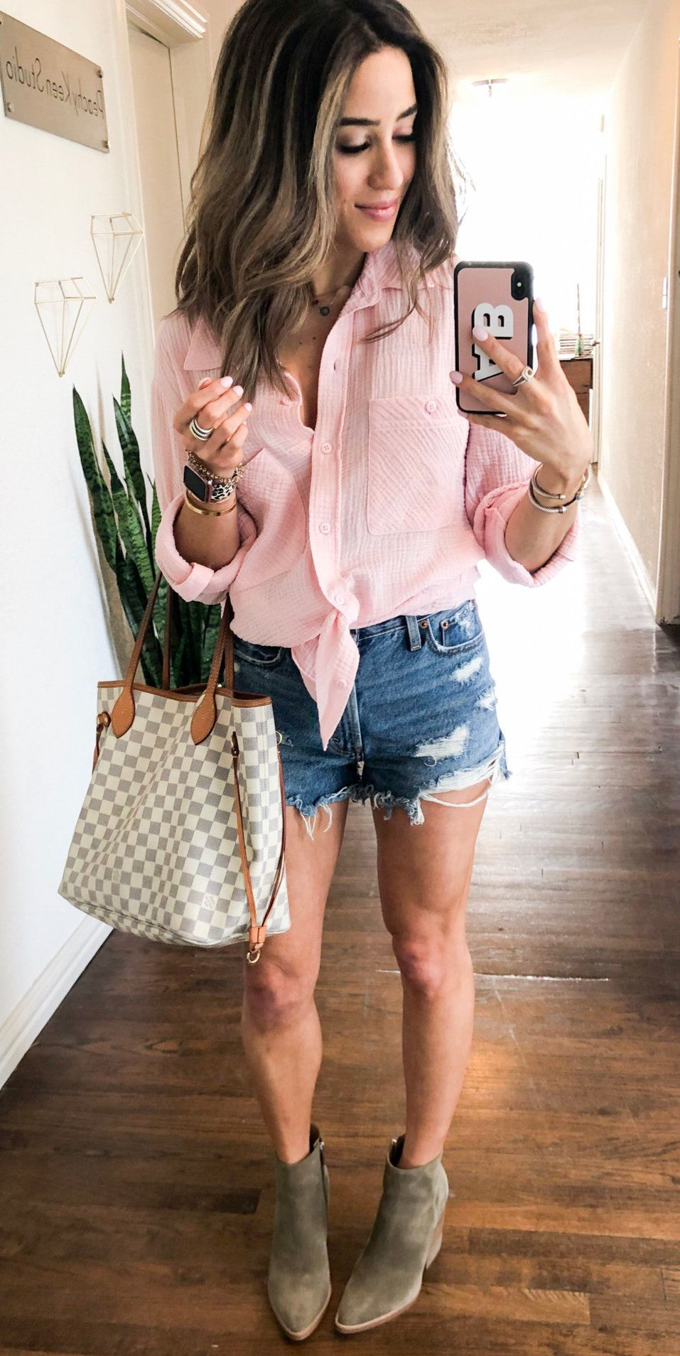 pink front-tie blouse and blue denim distressed shorts #spring #outfits