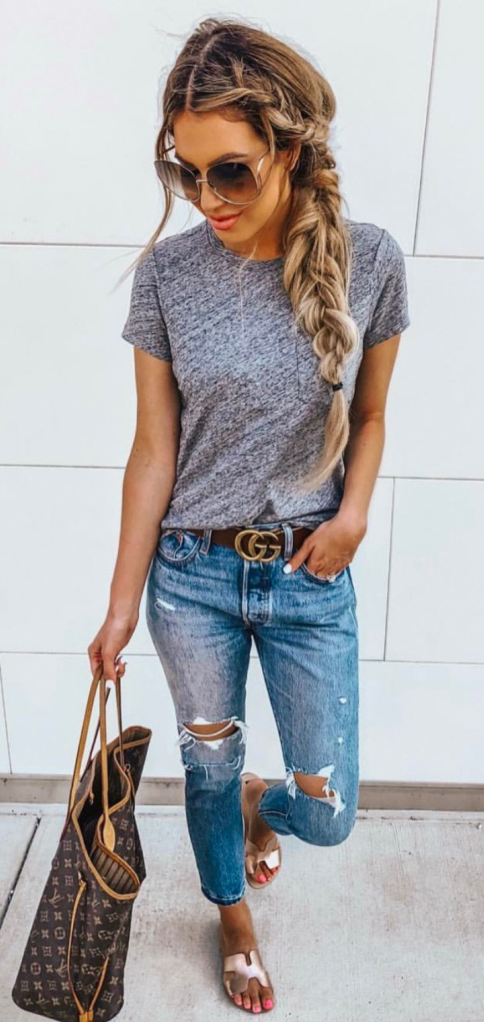 heather-gray crew-neck shirt #spring #outfits