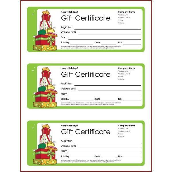 Gift Certificate Template Word 2003 Gift Certificate Free - christmas certificates templates for word