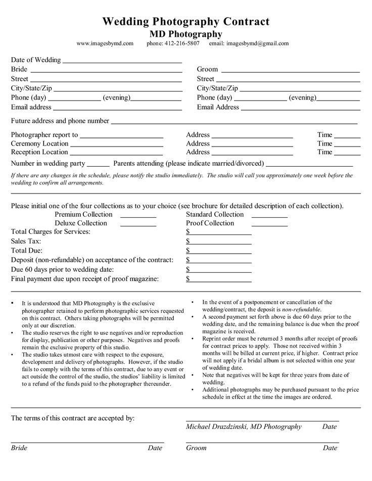 Photography Contract Template 25 Best Photography Contract Ideas - marriage contract template