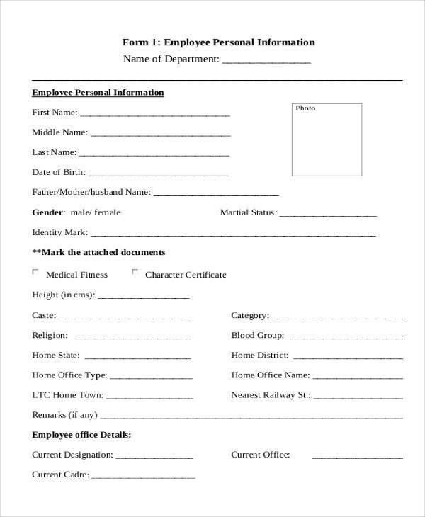 ... Employee Details Form Sample Employee Record Templates 32 Free    Employee Information Form Sample ...  Employee Details Form Sample