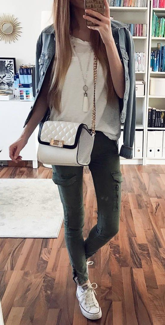 white shirt and pants #spring #outfits