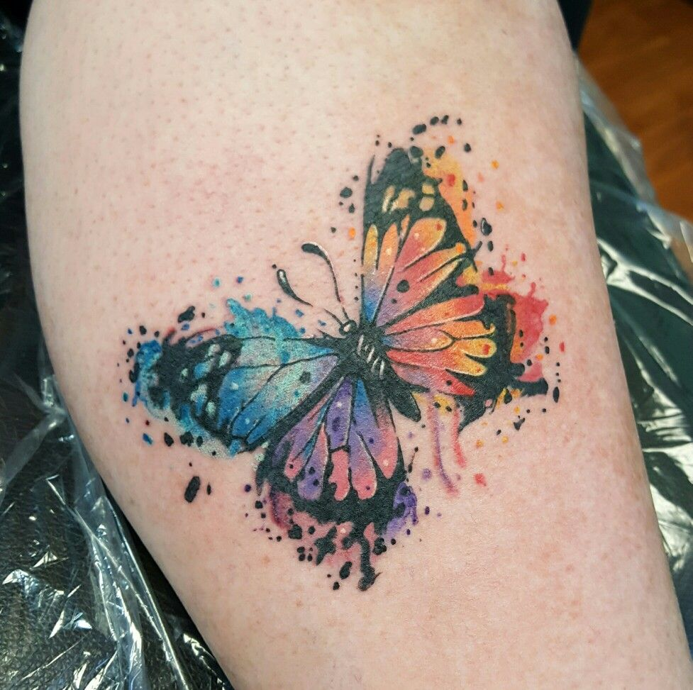 Watercolor butterfly done today. I love how the tattoo