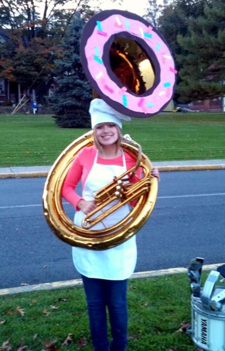Sousaphone donut costume. I should do this for Halloween next year.