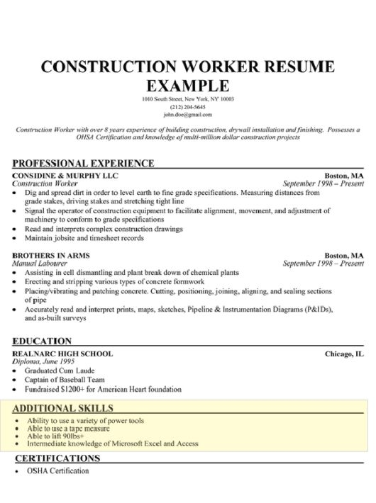 skills to put down on a resumes