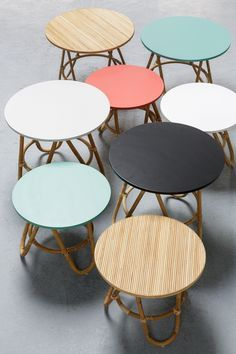 Tables basses en rotin vintage Diabolo : du vintage, du rotin, 2 tailles et 8 coloris de plateau !
