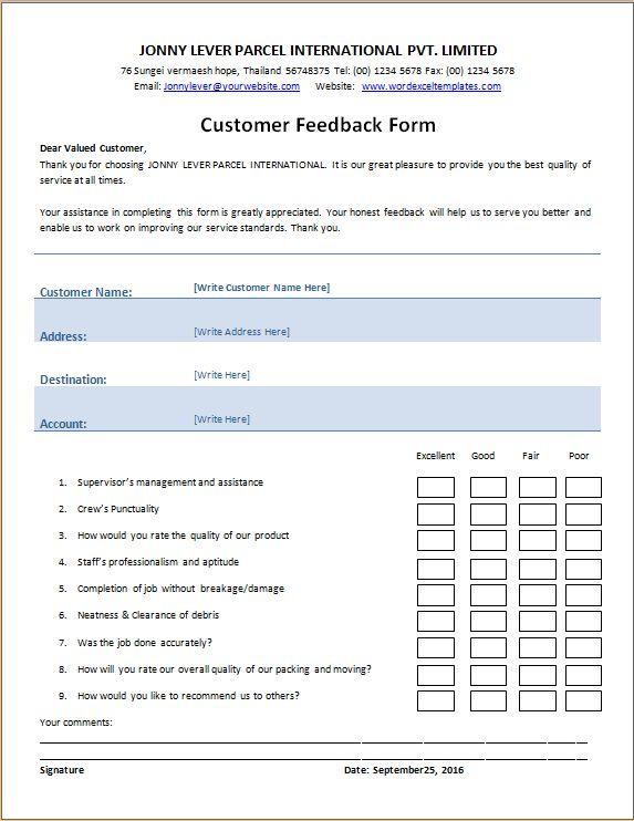Feedback template word hitecauto word form templates application form template 10 free word pdf feedback template word pronofoot35fo Images
