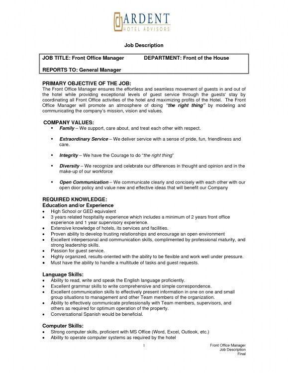 front desk job description