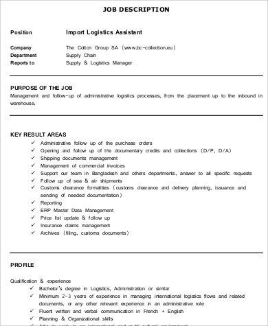 Logistics Assistant Job Description  NodeCvresumePaasproviderCom