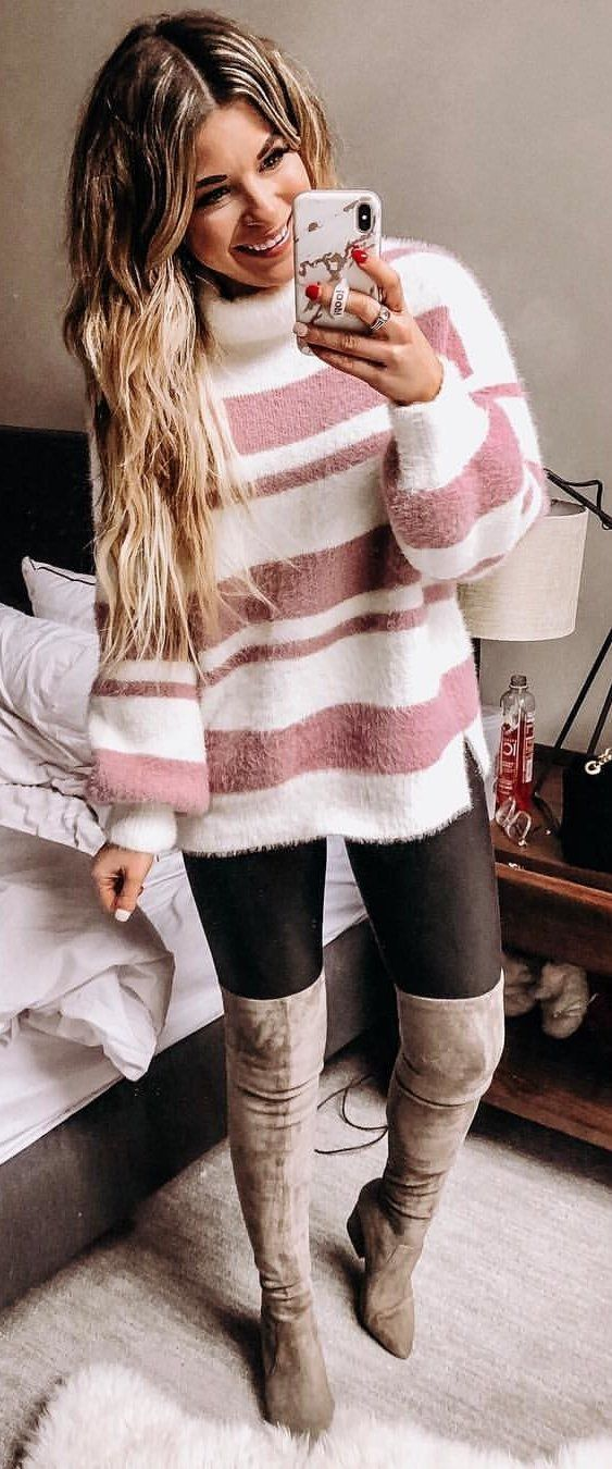 white and pink sweater