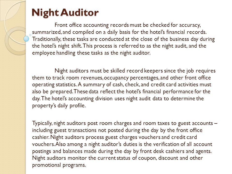 Night Auditor Job Description  NodeCvresumePaasproviderCom