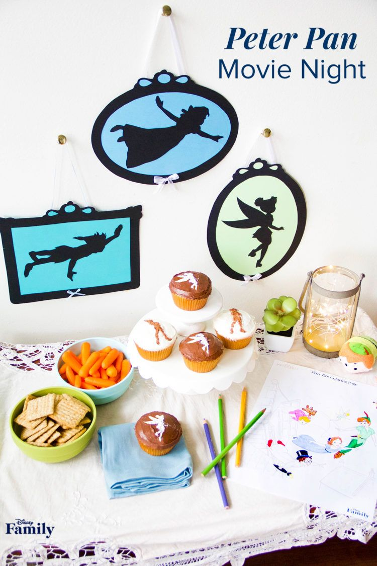 All you need for a Peter Pan movie night is a little bit of pixie dust and these cute DIYs and recipes. Transform a corner of your family room into a magical spread complete with a sweet treat, some festive decorations, and a fun activity! Click for inspiration on your next Peter Pan watch party.