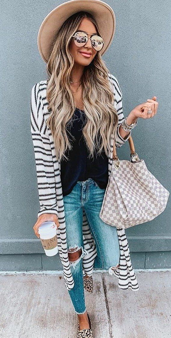 black and white striped cardigan #spring #outfits