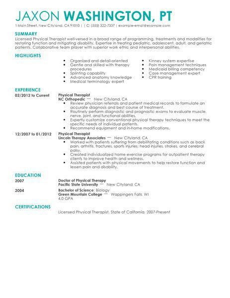 sample pta resume resume cv cover letter - Sample Resume For Respiratory Therapist