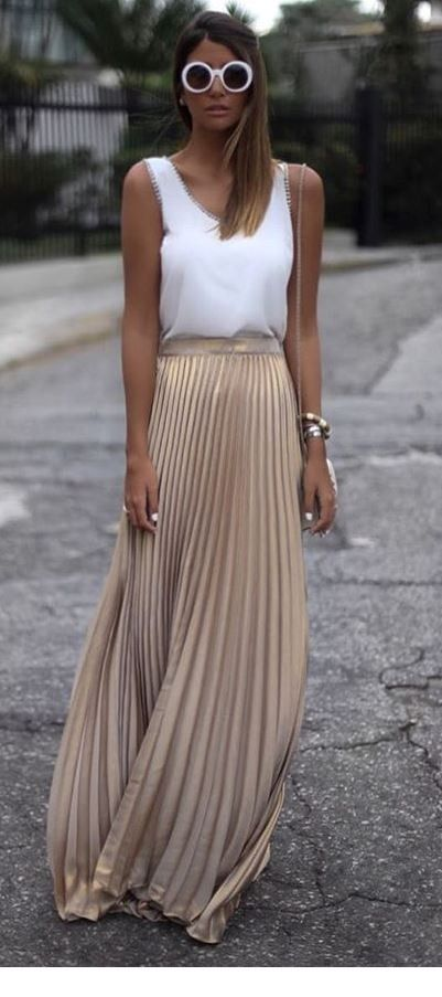 White top and beige skirt