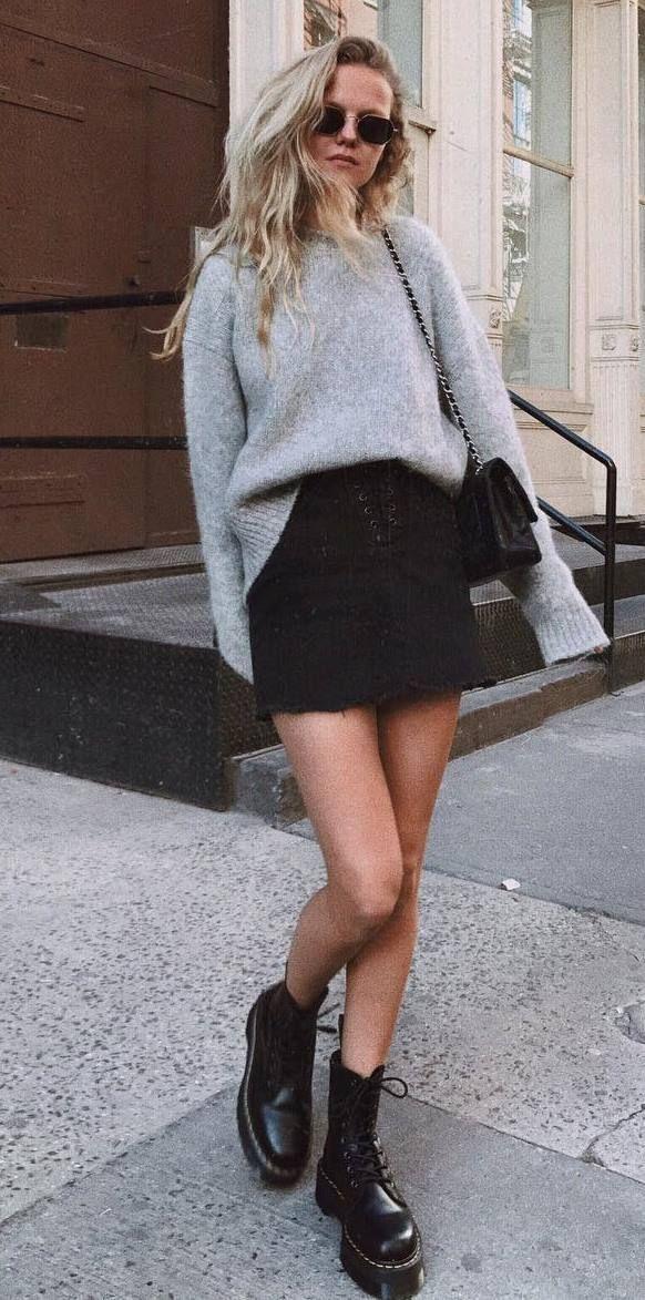ootd_grey sweater + boots + black skirt + bag