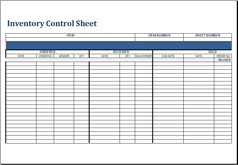 Inventory Excel Templates