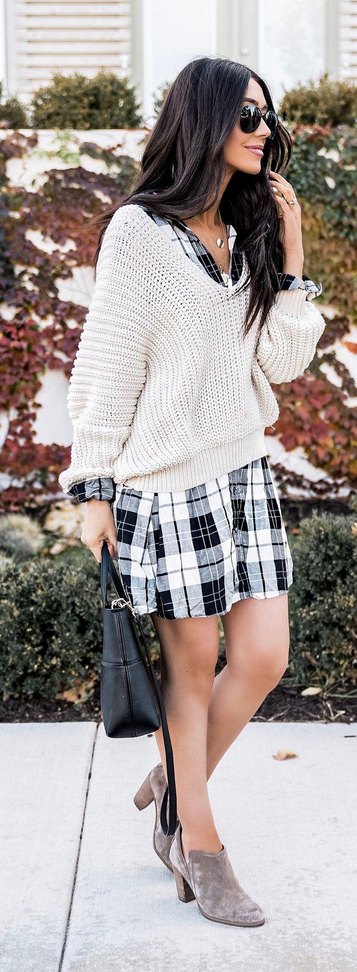 white knit sweater; black and white gingham mini dress