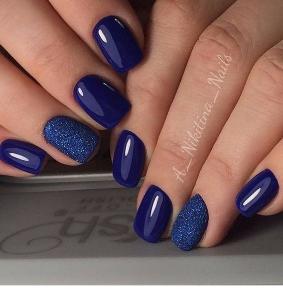 Cool navy nails with some glitter