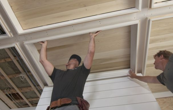 This Old House home builder Jeff Sweenor explains how he trimmed out the coffered ceiling ofour Westerly project