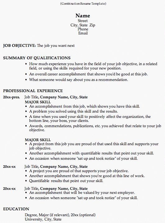 Resume Template Format Free Resume Templates 20 Best Templates - combined resume template