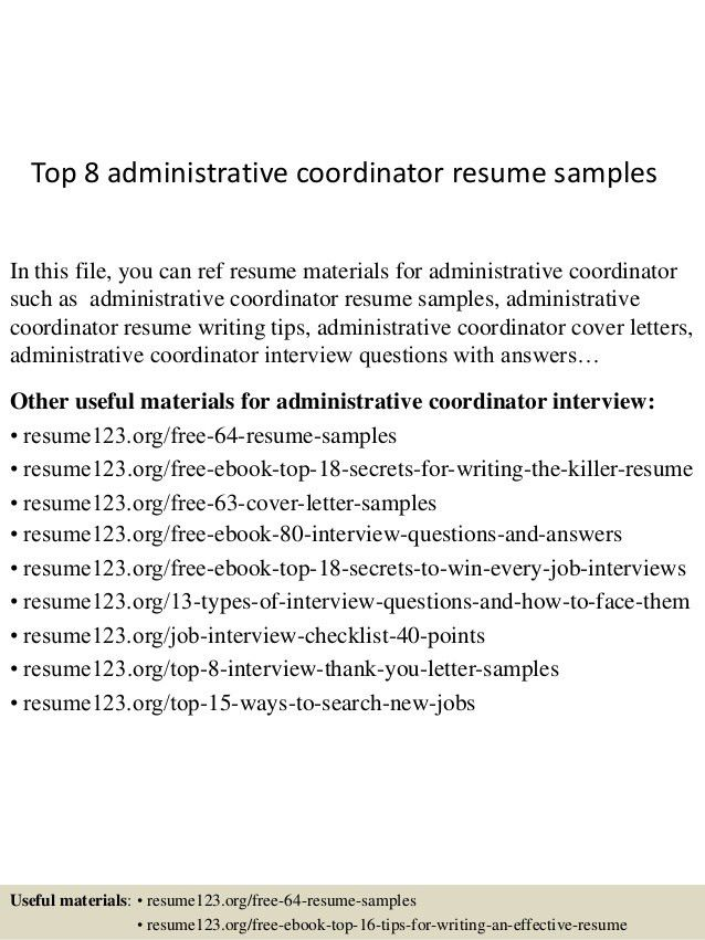 administrative coordinator cover letter administrative administrative coordinator resume - Administrative Coordinator Cover Letter
