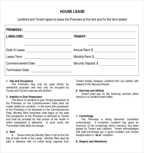Rental House Lease Agreement Template Printable Sample Rent Lease - blank lease agreement example