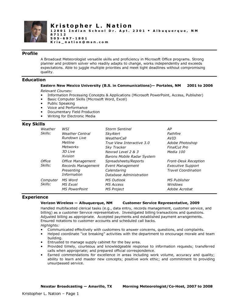 medical field resume