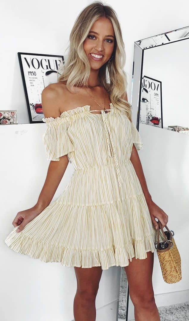 white off-shoulder mini dress #spring #outfits