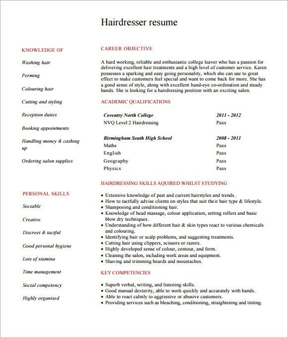 resume for hairstylist resume cv cover letter