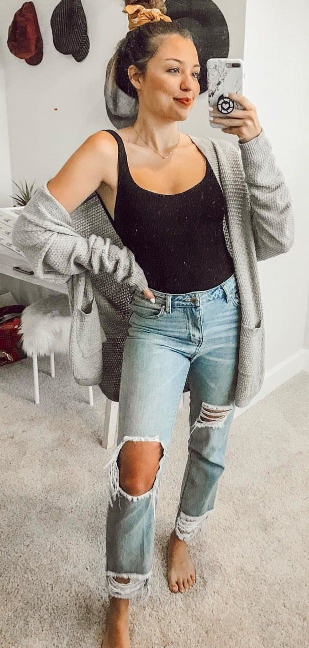 black tank top and gray zip-up hoodie #spring #outfits
