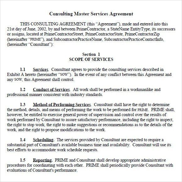 Services Agreement Template 14 Service Agreement Templates Free - consulting services agreement