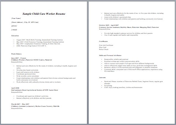 resume for child care resume sample - Resume Child Care Assistant