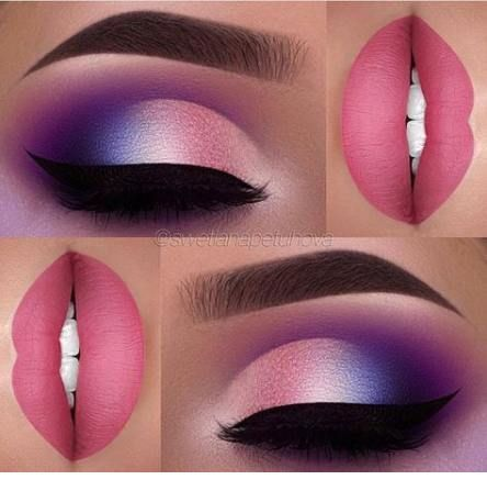 Sweet matte pink and purple makeup style