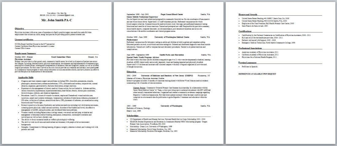 Physician Assistant Resume Examples New Grad - Examples of Resumes - sample physician assistant resume