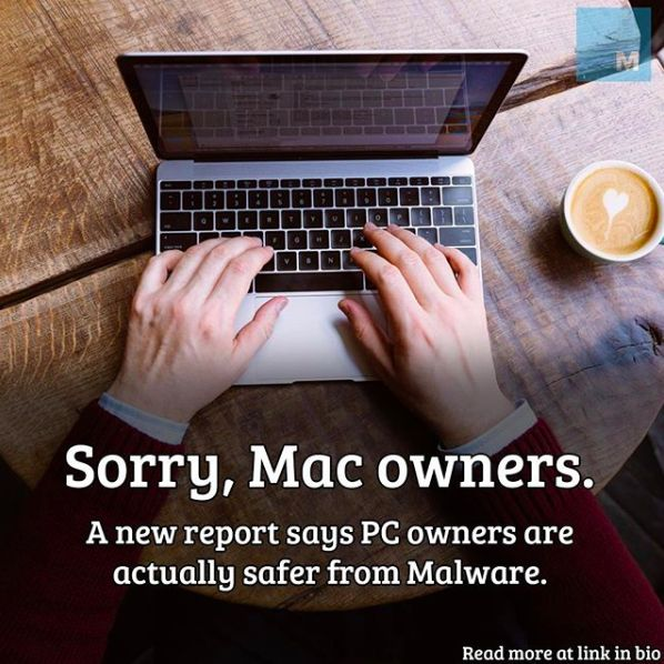 A new report finds PC owners are safer from Malware than Mac owners.
