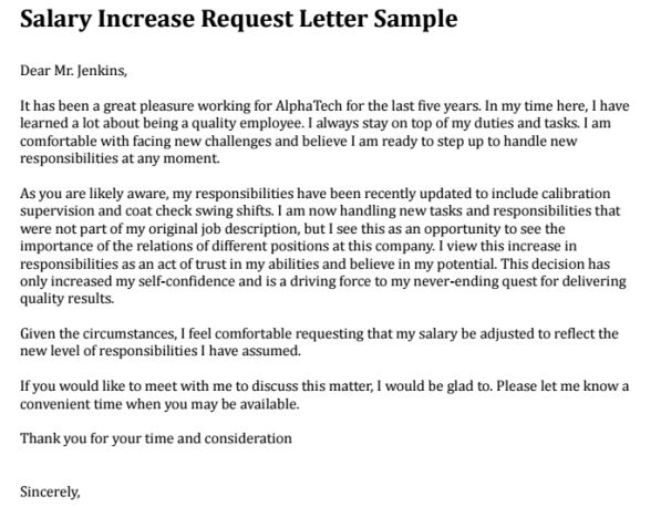 Increment Letter Sample Request For Salary  Letter Format For Salary Increment