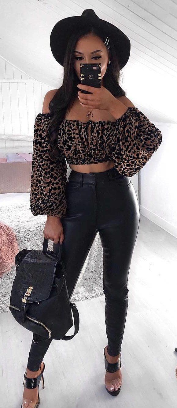 black and brown off-shoulder long-sleeved crop top #spring #outfits