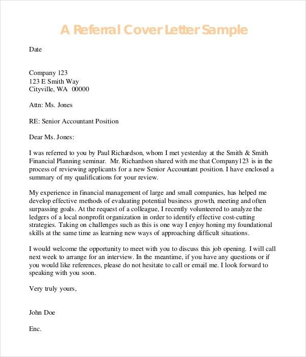 employee referral cover letter