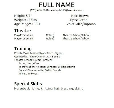 acting resume special skills examples examples of resumes - Example Of Special Skills