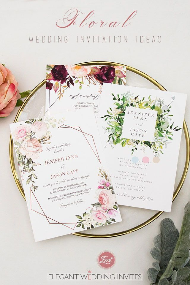 Romantic floral and botanical wedding invitations from ElegantWeddingInvites #EWI