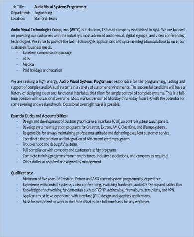 Audio Engineer Job Description Audio Engineer, Audio Engineer - system programmer job description