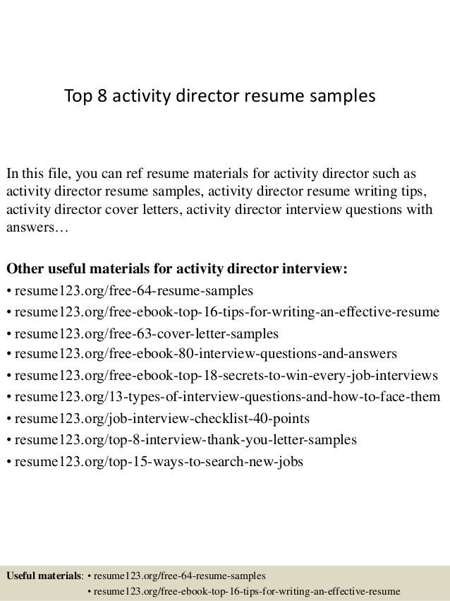 activities resume format