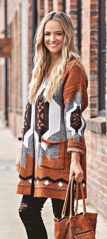brown, gray, and white tribal coat