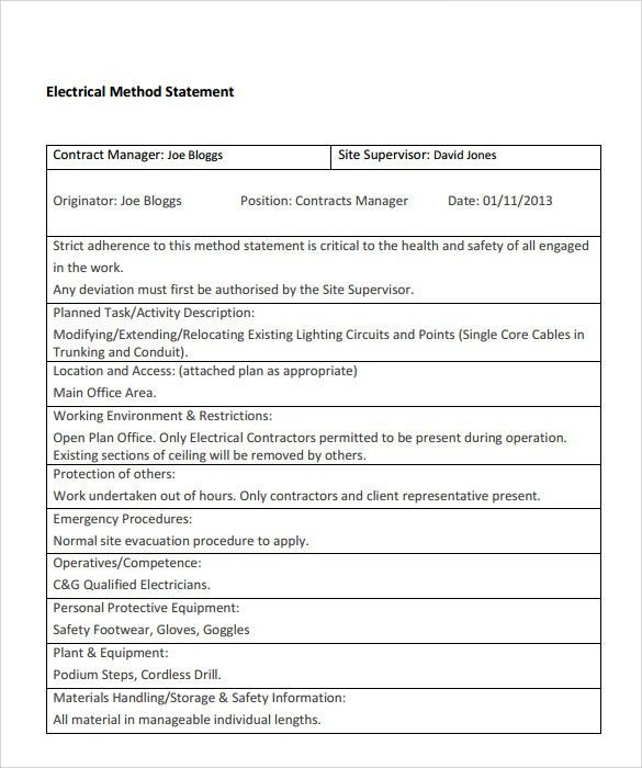 Method Of Procedure Template The Making Of A Good Method Of - method of statement