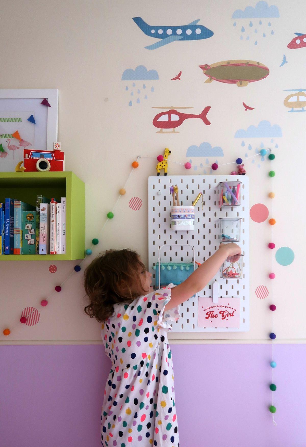 Colourful children's rooms with IKEA HACKS. Starting school: IKEA school run hacks - A Baby on Board blog - IKEA SKADIS pegboard tips