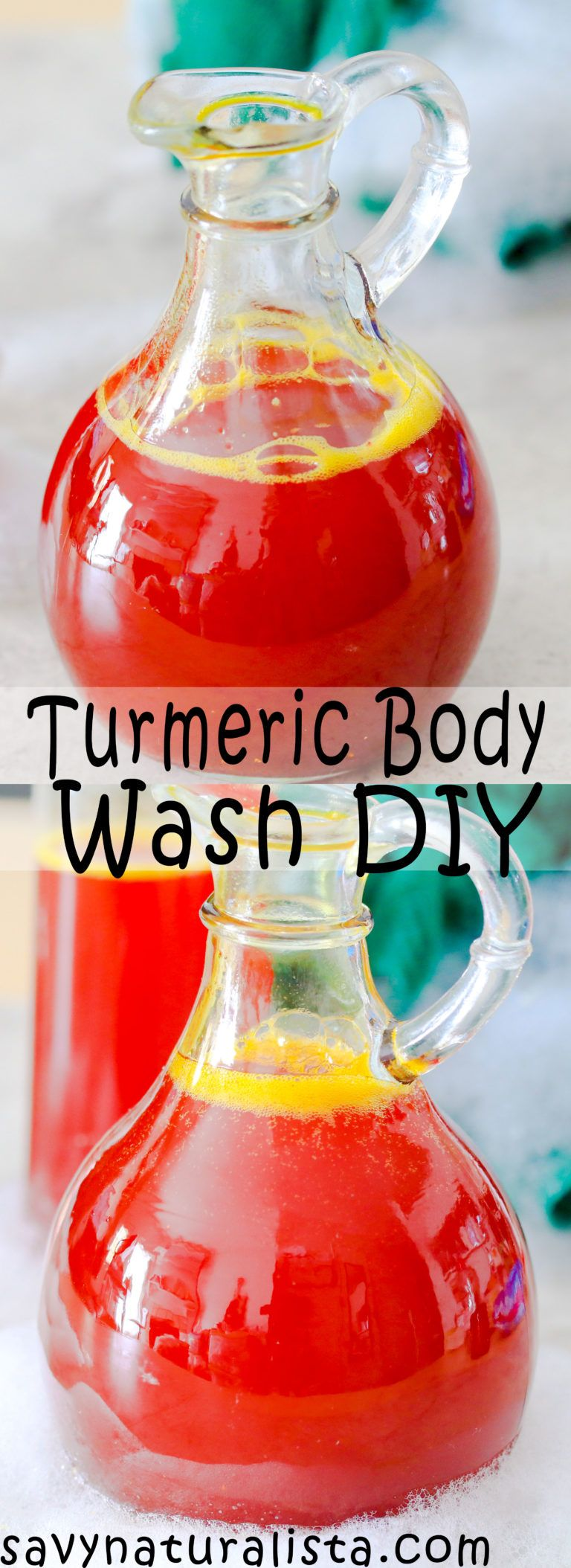 This easy turmeric body wash only requires four ingredients. It's an all-natural tutorial that is perfect to give your skin an easy glow and perfect for beginners!