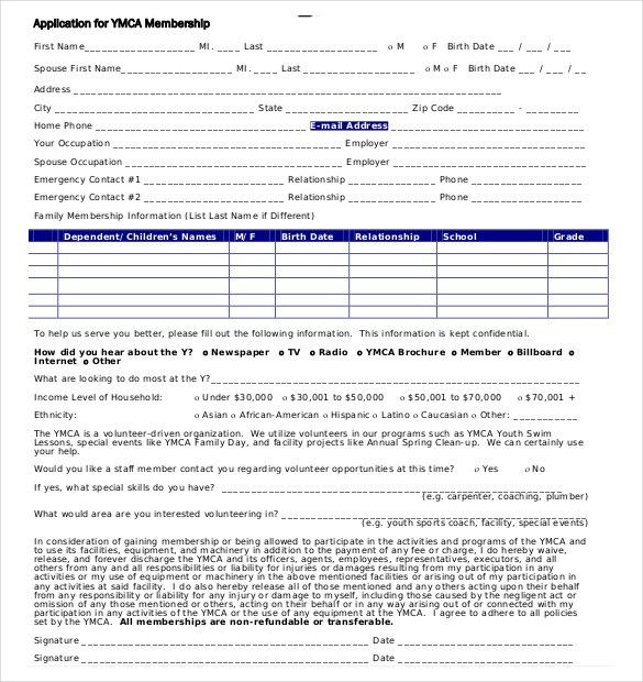 Membership Forms Templates Form Template Word And Excel, 15 Club - format of admission form