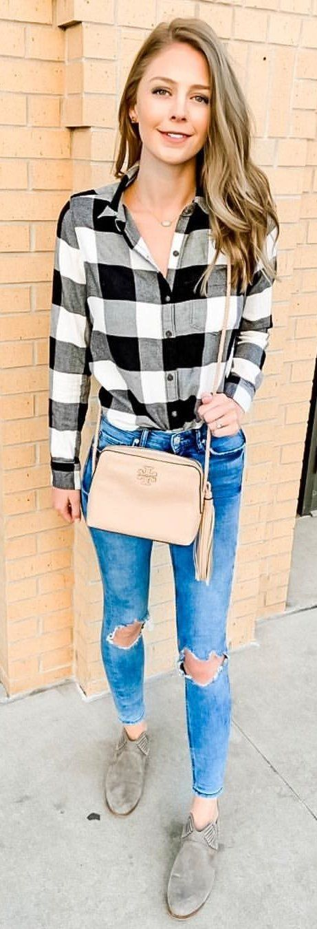 white and black plaid button-up shirt #winter #outfits